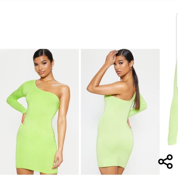 Pretty Little Thing Lime Neon Green Lace Bardot Bodycon Dress Size 10